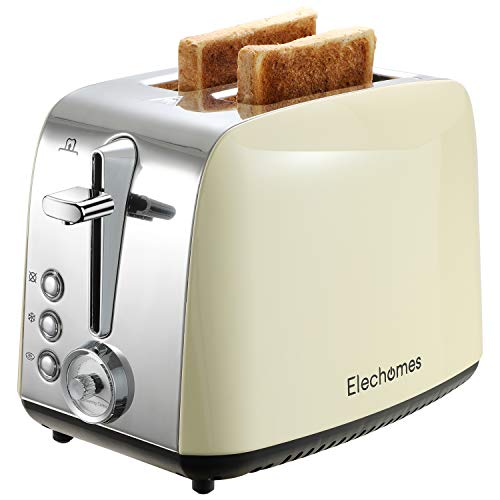 Toaster 2 Slice, Elechomes Stainless Steel Retro Toaster with Bagel, Cancel, Defrost Function, 1.5in Extra Wide Slots…