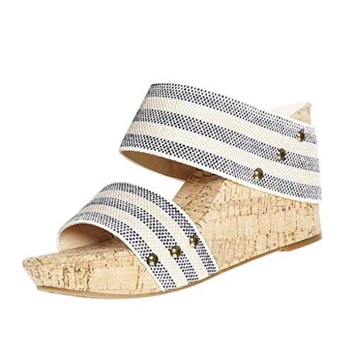 dd781f1fc3e Womens Summer Sandal Wedges Boho Flip Flops Platform Thick Bottom Retro  Shoes Slippers (Stripe