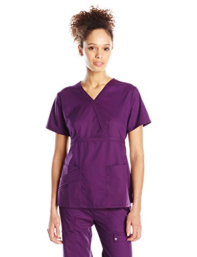 Cherokee Women's Workwear Core Stretch Mock Wrap Scrubs Shirt, Eggplant, X-Large