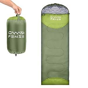 CampFENSE Sacos de Dormir (180 ×75 cm,Temperatura: 30-60 ℉) Ultraligero, Duradero y cómodo, Incluye Bolsa de compresión (Verde): Amazon.es: Deportes y aire ...