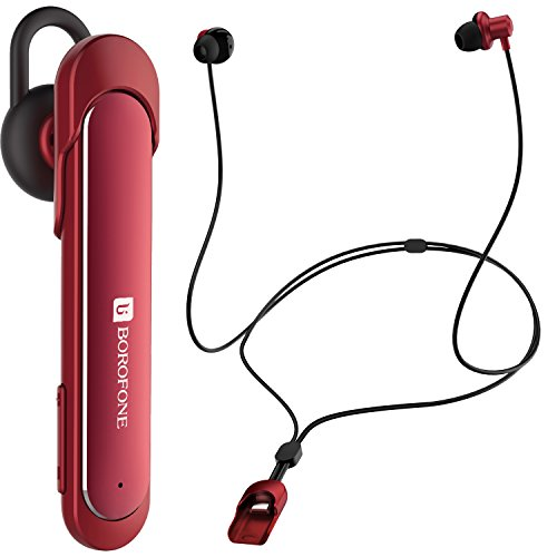 Innovative 2-in-1 Bluetooth Headphone Wireless Sport Earphone BOROFONE BE10 V4.1 Earbud Headset Necklace Design Easily Switching to Single Ear Mode Built-in Mic for Fashion Running & Business(Red)