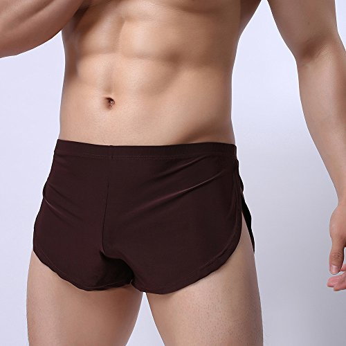 Men Sexy Underwear,LuluZanm Male Letter Pure Color Shorts Boxer Briefs Bulge Pouch Underpants Coffee by Luluzanm-Shorts (Image #5)