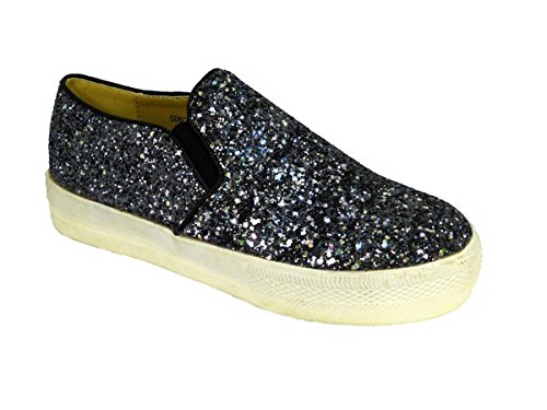 Womens Ladies Flat Slip ON Espadrilles Pumps Canvas Plimsoles Shoes Size 3-8 Black (Gd6c5002) w1S8pH
