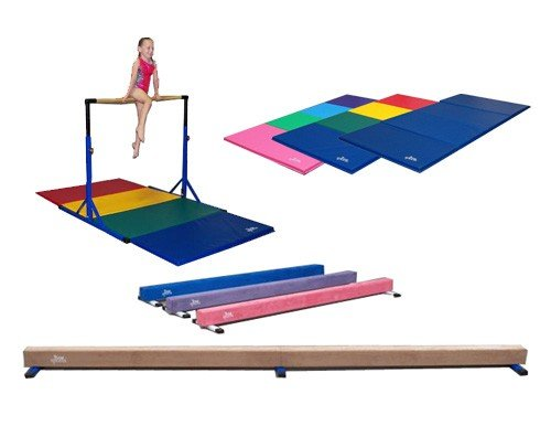 "Best Choice Gymnastics ""Blue"" High Bar, ""Rainbow"" Color 4x8x1 3/8"" Folding Mat,and 8' ""Tan"" Suede Beam Combo!"