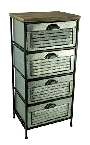 Home View Design, Inc. Galvanized Metal Wood Topped 4 Drawer Storage Cabinet