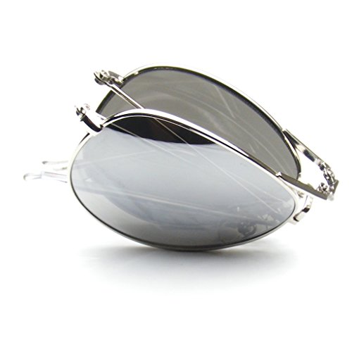 Folding Pocket Metal Aviator Sunglasses (Silver)