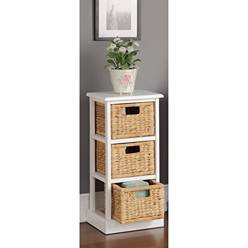 Three Storage Baskets File Cabinet in White Finish, Office Storage Table, Wooden Cabinet, Office Library with 3 Baskets, Home/Office Organizer, Bundle with Expert Guide