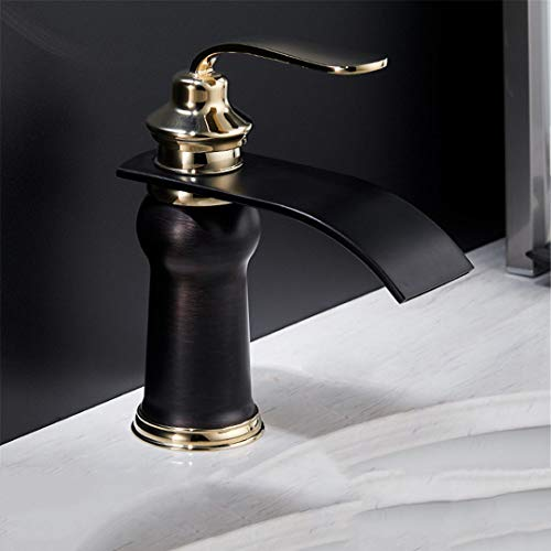 BE-Eronsty Basin Faucets Modern Style Bathroom Faucet Deck Mounted Waterfall Single Hole Mixer Taps Golden and Black ()