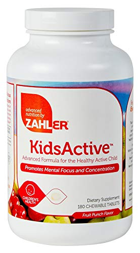 Zahler KidsActive, Kids Chewable CONCENTRATION Formula, All Natural Childrens Supplement Supporting FOCUS and ATTENTION, Certified Kosher, 180 Fruit Punch Flavored Tablets