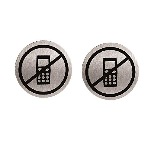 Wall Sign 2.6 inch No Call Phone/No Mobile Graphic Round Signs Senior Stainless Steel Warning Sign (2 Pcs) (Headset Prepaid Bluetooth)