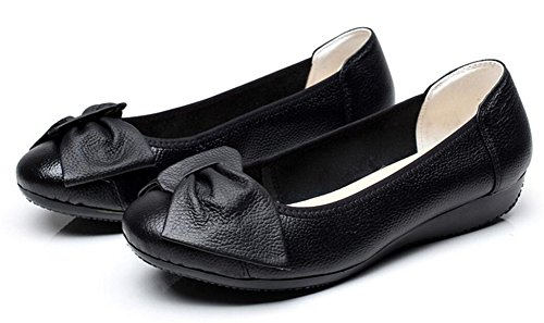 Womens Leather Casual Loafers Light Slip On Comfort Driving Shoes Flat Black f8zMN4fyvu