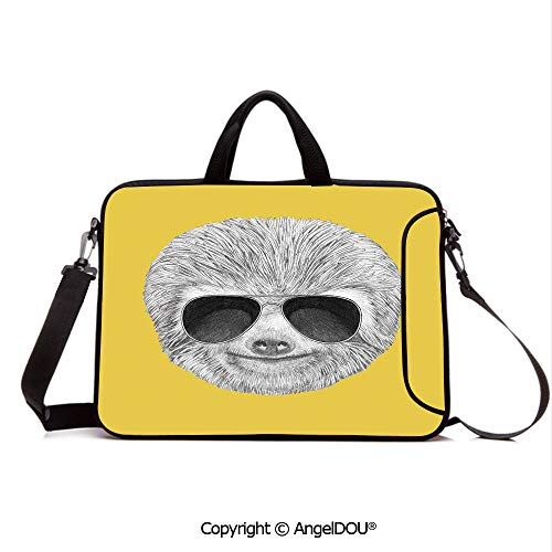 AngelDOU Laptop Sleeve Notebook Bag Case Messenger Shoulder Laptop Bag Hipster Jungle Animal with Sunglasses Smiling Funny Expression Cool Character Pr Compatible with MacBook HP Dell Lenovo Yelow G