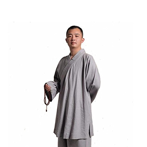 ZooBoo Men's Cotton and Linen Hanfu Suit Monk Uniforms Kungfu Clothes Martial Arts Clothing Arhat Suits (Gray, L) -