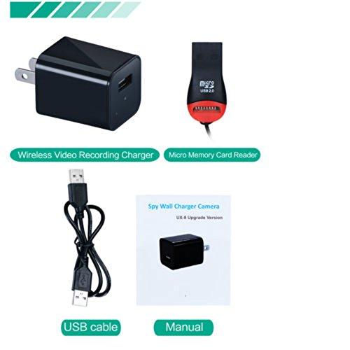 USB Spy Security Hidden Camera  1080P HD 32 GB Internal  AC Wall Charger US/EU Adapter Plug With Motion Detection   Nanny Hidden Camera