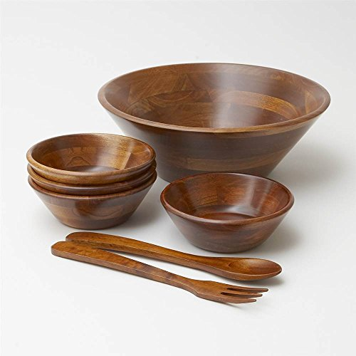 Adaman Sea 7 Pc Wood Bowl Salad Set - Walnut Salad Bowl Set