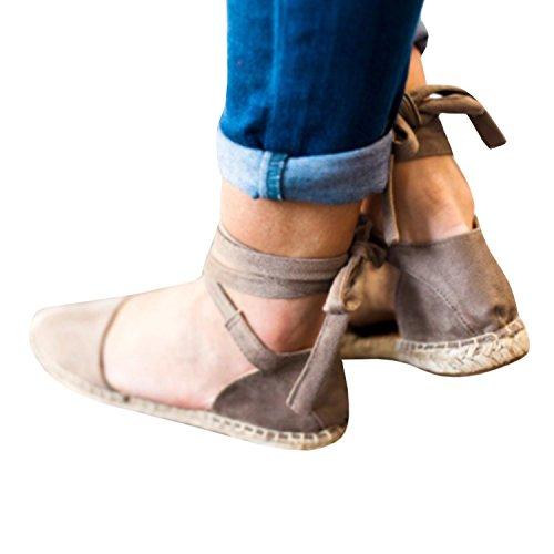 (Pxmoda Women's Bandage Flip-Flop Sandal Flats Ankle Wrap Espadrille Flat Sandals (7.5 B(M) US - EU Size 38, khakii))