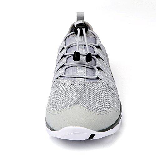41TmENrsVYL - Alibress Men's Quick Drying Aqua Shoes Slip On Barefoot Water Shoes Grey Gray White 12 M US