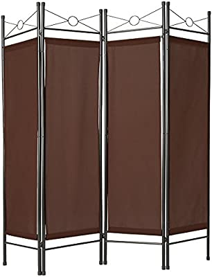 TecTake Biombos diseño 4-Panel Tela Divisor habitación Separador separación biombo 180x160cm Varias cantidades - (1x Marrón | no. 401661): Amazon.es: Hogar