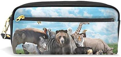 Tiger - Estuche para lápices de jirafa, diseño de cebra, rinoceronte, elefante, para niños, gran capacidad, para maquillaje, cosméticos, oficina, viaje: Amazon.es: Oficina y papelería