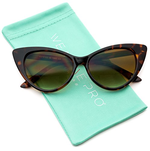 Vintage Inspired Fashion Mod Chic High Pointed Cat Eye Sunglasses for Women (Tortoise Frame / Brown - Sunglasses Tortoise Eye Cat