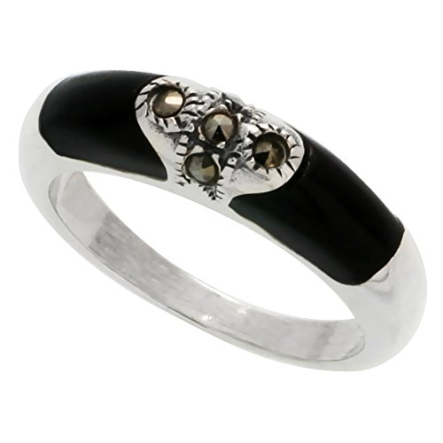 Sterling Silver Marcasite Tubular Jet Stone Ring, 1/4 inch (6 mm) wide, size 7 ()