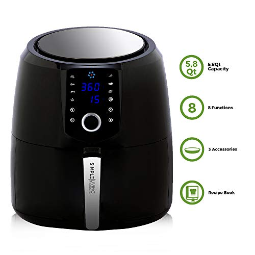 Simple Living XL 5.8qt Hot Digital Air Fryer. 3 Air Fryer Accessories, Recipe Book, 8 Cooking Presets & Keep Warm Function (XL Air Fryers) ()