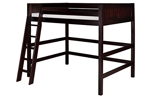 Camaflexi Panel Style Solid Wood High Loft Bed, Full, Side Angled Ladder, Cappuccino (Repair Furniture Denver)