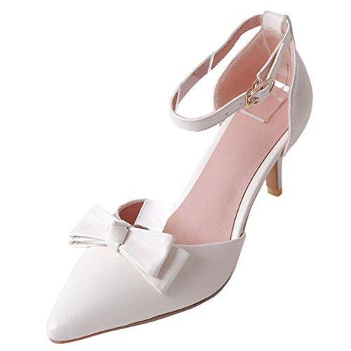 RAZAMAZA Mujer Moda Verano Cerrado Sandalias Dulce Tacon Delgado Zapatos con Bowknot Blanco