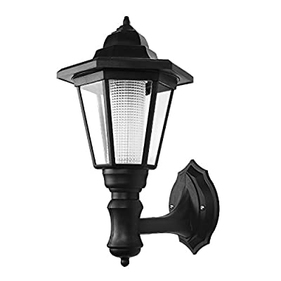 Onerbuy Solar Powered Outdoor LED Wall Sconce Lantern Wall Mounted Security Lights Garden Fence Yard Hexagonal Lamp