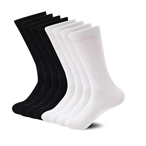 Sock Amazing Premium Bamboo Socks Black&White Crew Socks for Men Women 8 Pack Business Dress Socks Work Socks Casual ()