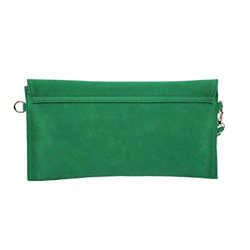 jieway - bolso de mano para mujer, de ante sintético, con correa en bandolera verde