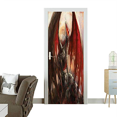 Door Sticker Wall Decals World Majestic Dragon Resting Mythological Fire Spewing Creature Spooky Grey a Easy to Peel and StickW23.6 x H78.7 INCH