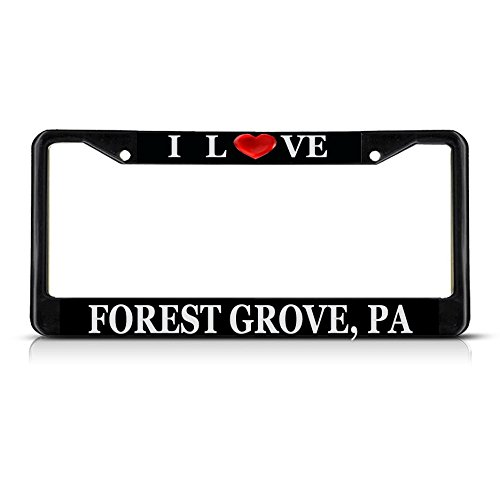 Sign Destination Metal Insert License Plate Frame I Love Heart Forest Grove, Pa Weatherproof Car Accessories Black 2 Holes Solid Insert 1 Frame (Pa Grove Forest)