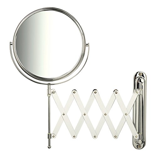 Jerdon JP2027C 1x-7x Magnification Wall Mount Mirror with Scissor Bracket, -