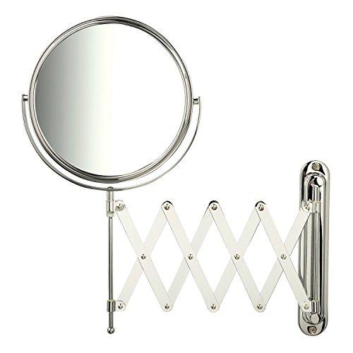 Jerdon JP2027C 1x-7x Magnification Wall Mount Mirror with Scissor Bracket, - Mounting Brackets Mirrors Bathroom