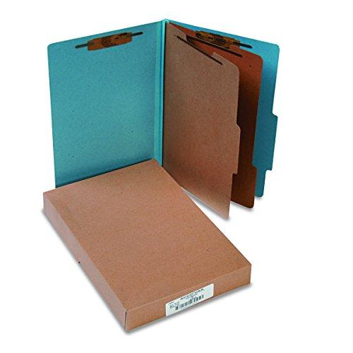 ACCO Pressboard Classification / Partition Folders, Legal, 6 Part, Sky Blue, 10 per Box - Part Six