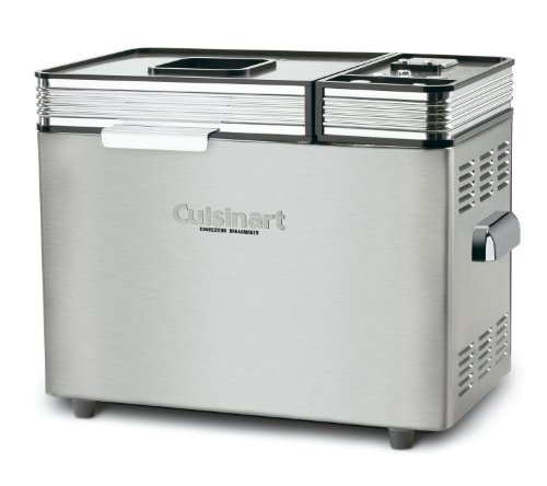 Cuisinart 680 Watt Convection 2 Pound Breadmaker, 16 Preset Menu Options, and Audible Tones with a 12-Hour Delay-Start Timer, Includes Nonstick Baking Pan & Paddle, BONUS Recipe Booklet (Cuisinart 100 Breadmaker compare prices)