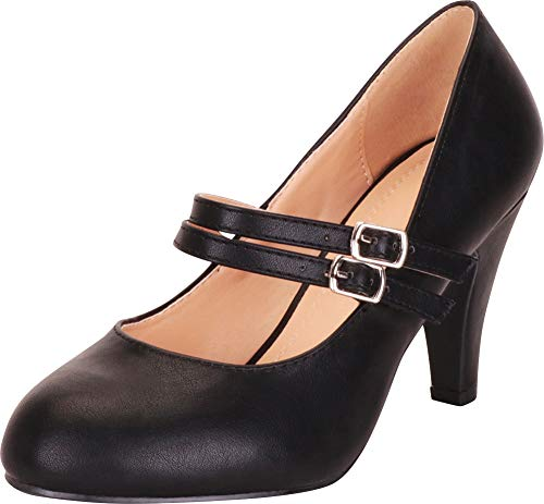 Cambridge Select Women's Retro Pinup Double Strap Mary Jane Mid Heel Pump (8 B(M) US, Black -