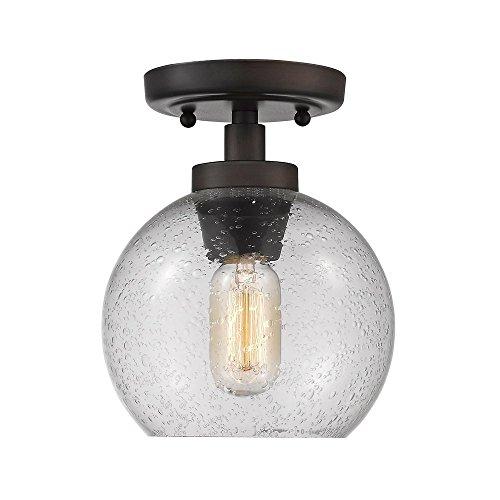 - Golden Lighting 4855-FM RBZ-SD One Light Flush Mount Bronze