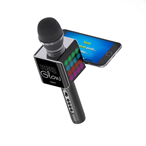 Tzumi PopSolo - Rechargeable Bluetooth Karaoke Microphone and Voice Mixer with Smartphone Holder - Great for All Ages (Black glow)]()