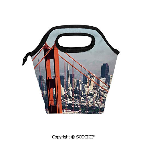 Reusable Printed Design Lunch Bag Francisco Bridge and Cityscape Metropolis Financial District Lunch Tote bag for Work and -