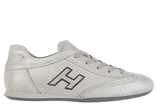 Hogan Damenschuhe Turnschuhe Damen Leder Schuhe Sneakers olympia h flock Grau