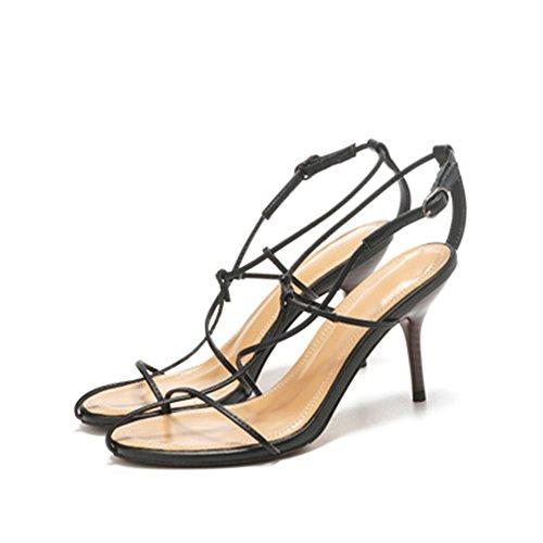 Sandals ZHIRONG Summer Women's High Heel Fashion Cross Straps Open Toe Fine Heel Roman Shoes7.5CM (Color : White, Size : EU36/UK3.5/CN35) Black