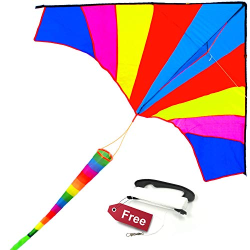 ALLON Rainbow Delta Kite for Kids & Adults, Easy to Assemble and Fly Large Beach Toy Kite for Boys & Girls, Giant Size 60 x 80 Inches, Bonus with 330' String Line (Best Kites For Adults)