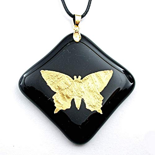 Gold Dust Butterfly 2 Encased in Glass Black Glass Pendant Charm Necklace 18KGP Gold Bail Jewelry