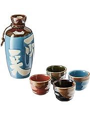 """Kotobuki Issho Japanese Calligraphy Sake Set, """"Laugh to Stay Young"""", Turquoise"""