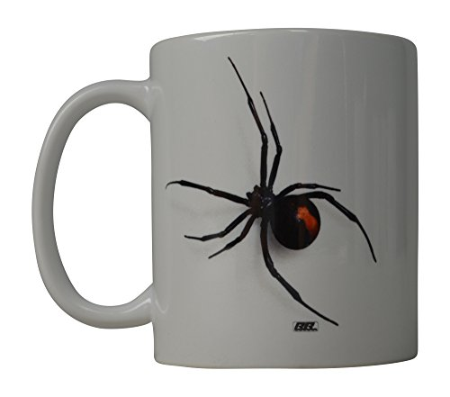 Funny Coffee Mug Scary Realistic Black Widow Spider Novelty Cup Great Gift Idea For Men Women Office Party Employee Boss Coworkers (Black Widow)