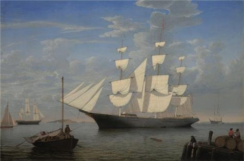 ('Fitz Henry Lane,Starlight In Harbor,about 1855' Oil Painting, 8x12 Inch / 20x31 Cm ,printed On High Quality Polyster Canvas ,this Replica Art DecorativePrints On Canvas Is Perfectly Suitalbe For Home Office Decoration And Home Decoration And Gifts)