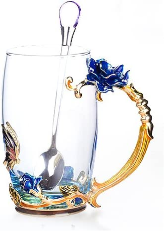 Creative Handmade Enamel Home Decration Enamel Flower Crystal Glass Coffee Tea Water Cup 37CL, Lily