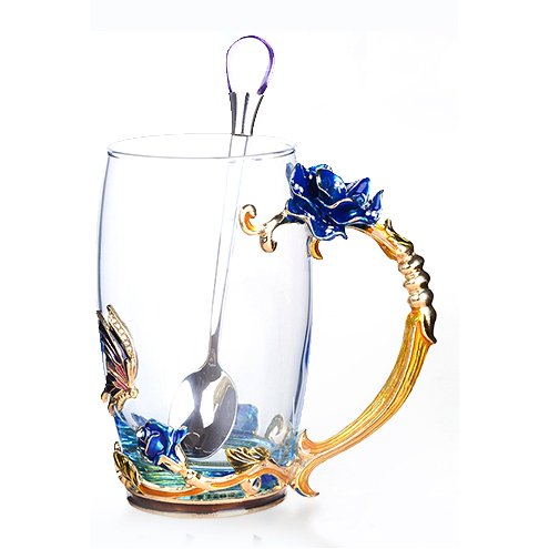 Creative Handmade Enamel Home Decration Enamel Flower Crystal Glass Coffee Tea Water Cup (37CL, Rose Blue) Blue Flower Cup